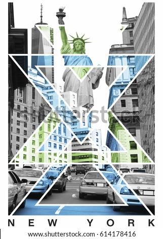 Photo print New York and Statue of liberty , illustration, tee shirt graphics