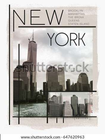 Photo print new York Building illustration, tee shirt graphics, typography