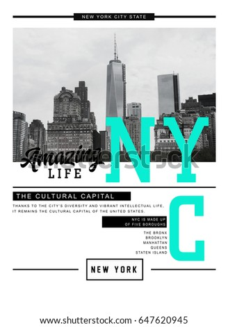 Photo print New York City illustration, amazing life typography, tee shirt graphics,