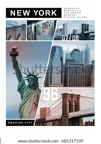 Photo print New York illustration, tee shirt graphics, amazing city typography