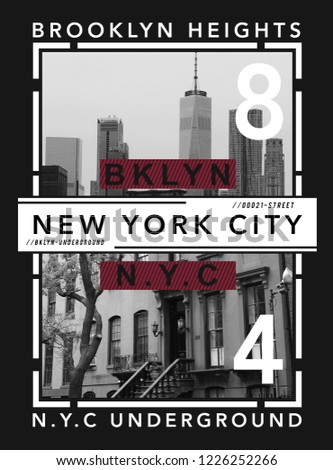 Photo print New York illustration, tee shirt graphics, typography