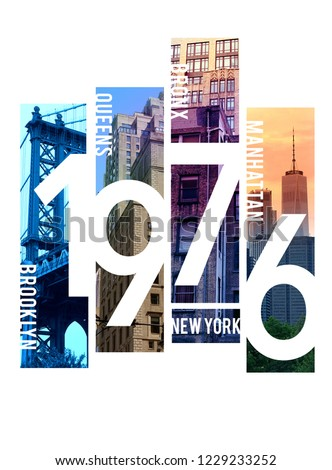 Photo print New York illustration, typography, tee shirt graphics,