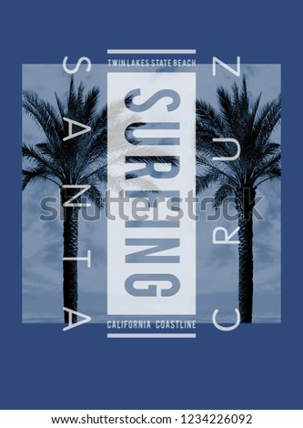 Photo print Santa Cruz illustration, tee shirt graphics, typography