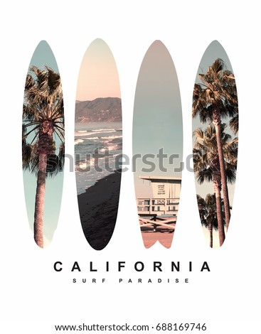 Photo print surfboard California illustration, tee shirt graphics, typography