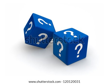 Photo-real illustration of two blue dice engraved question mark symbols on white background. - stock photo