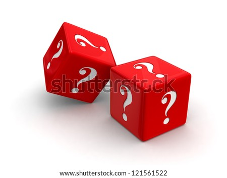 Photo-real illustration of two red dice engraved with question mark symbols on white background.