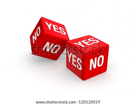 Photo-real illustration of Two red dice NO and YES embossed on all sides.  Isolated on white background.