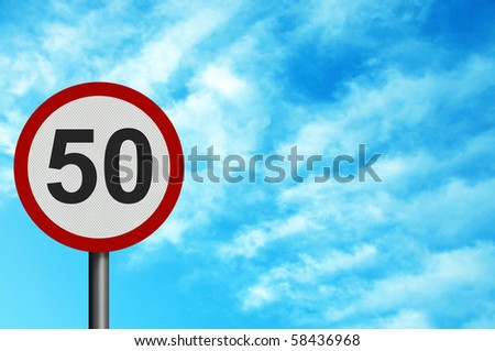 Photo realistic bright, clean 'fifty miles per hour speed limit' sign, with space for your text / editorial overlay