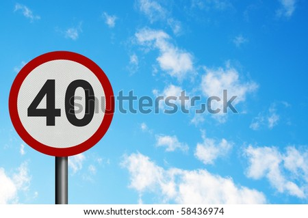 Photo realistic bright, clean 'forty miles per hour speed limit' sign, with space for your text / editorial overlay