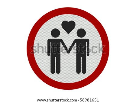 Photo realistic bright, clean 'male partners' sign, isolated on a pure white background