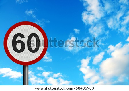 Photo realistic bright, clean 'sixty miles per hour speed limit' sign, with space for your text / editorial overlay
