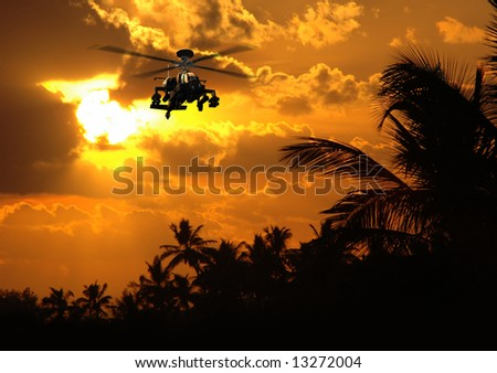 Photo-realistic 3D render of Apache helicopter at sunset.