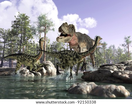 Photo realistic 3 D rendering of a scene picturing a T Rex hunting two Gallimimus running in the water with rocks to escape Trees and sky in the background Depth of field effect.