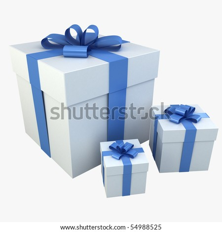 Photo realistic Gift Box 3D Rendering Blue - stock photo