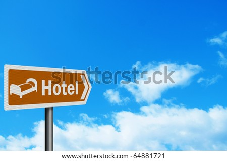 Photo realistic 'hotel'  tourist information sign, with space for your text / editorial overlay