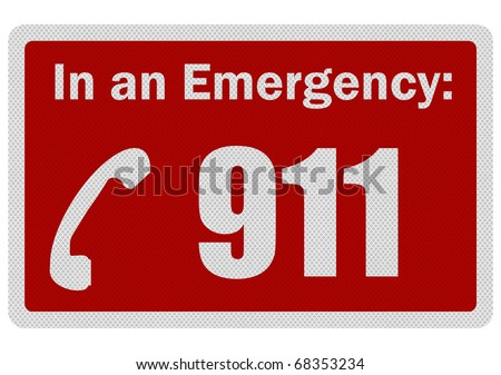 Photo realistic metallic, reflective 'Emergency 911' sign, isolated on white