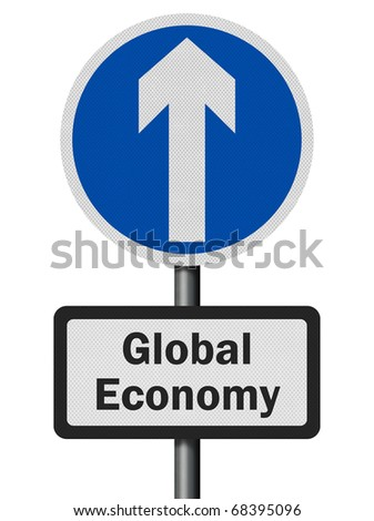 Photo realistic metallic, reflective 'global economy growth' sign, isolated on white