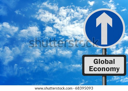 Photo realistic metallic, reflective 'global economy growth' sign, with space for text overlay