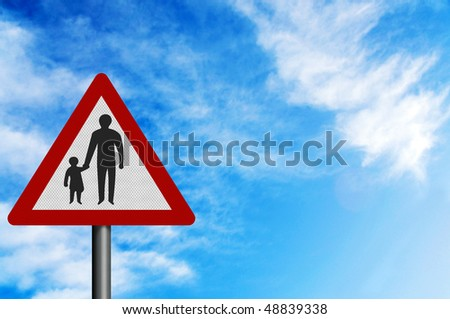 Photo realistic metallic reflective 'pedestrians' sign, against a bright blue sky. With space for your text overlay / editorial