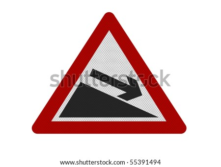 Photo realistic reflective metallic 'downwards slope' sign, can be used as a financial metaphor. Isolated on a pure white background.