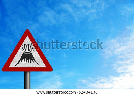 Photo realistic reflective metallic 'erupting volcano' sign. With space for your text / editorial overlay