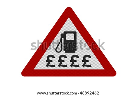 Photo realistic reflective metallic 'expensive fuel' sign, isolated on a pure white background.