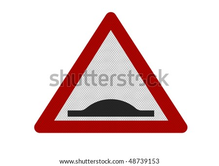 Photo realistic reflective metallic 'humps in road' sign, isolated on a pure white background.