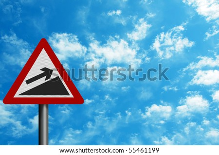 Photo realistic reflective metallic 'increase' sign, can be used as a financial metaphor. With space for your text.