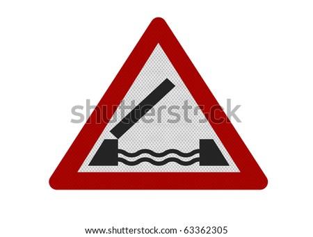 Photo realistic reflective metallic 'Lifting bridge' sign, isolated on a pure white background. - stock photo