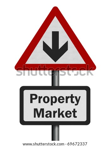 Photo realistic reflective metallic 'property market decline' sign, isolated on a pure white background.