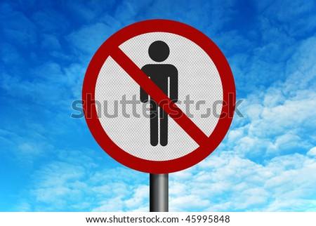 Photo realistic reflective metallic road sign, depicting 'no men', set against a bright blue sky