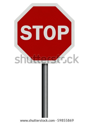 Photo realistic reflective, metallic 'stop' sign post, isolated on pure white. High resolution.