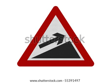Photo realistic reflective metallic 'upward slope' sign, can be used as financial metaphor. Isolated on a pure white background.