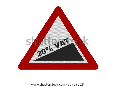 Photo realistic reflective metallic '20% VAT' sign, isolated on a pure white background. VAT rise stated in June 2010 budget speech.