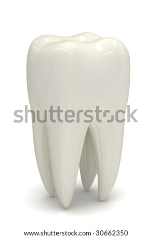 Photo-realistic render of a white healthy tooth