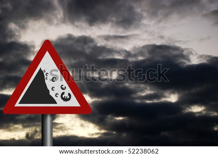 Photo realistic sign depicting falling Euro, against a dark, stormy sky