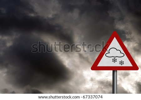 Photo realistic 'snow warning' sign, against a stormy sky. With space for your text overlay. - stock photo