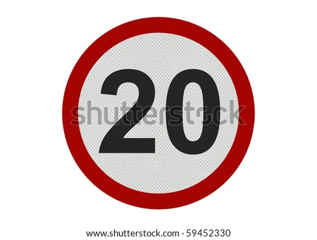 Photo realistic 'twenty miles per hour speed limit' sign, isolated on a pure white background