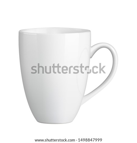 Photo realistic white cup isolated on the transparent background. Design Template for Mock Up. Template ceramic clean white mug with a matte effect, without the bright glare.