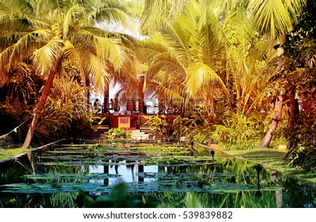 Photo retro tropical paradise garden with pond #539839882
