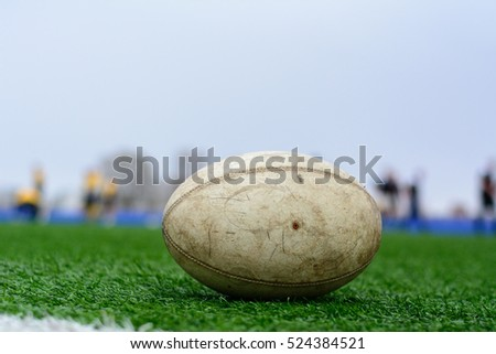 Photo Rugby ball on the green grass #524384521