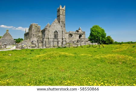 photo scenic irish ancient church abbey ruins landscape - stock photo
