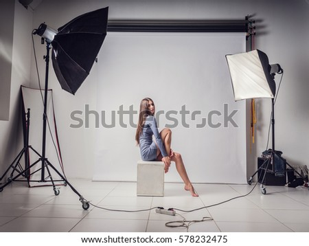 Shutterstock photo session in the studio with a beautiful young girl. instagram. Screensaver for your desktop