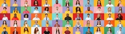 Photo set collage of faces of multiethnic happy fun smiling people, men and women group different ages wearing casual clothes isolated on colorful background studio portraits. Human facial expression
