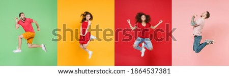 Photo set collage of four excited multiethnic expressive happy young people group wearing t-shirts having fun, jumping or fly up in air different poses isolated on colorful background studio portraits Photo stock ©