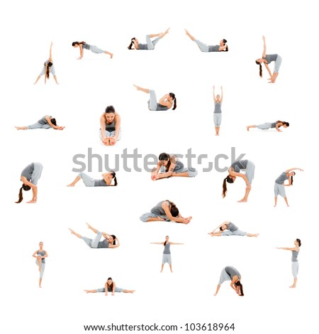 photo set of sporty woman isolated on white background
