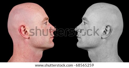 photo shaved bald man side portrait