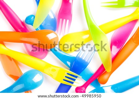photo shot of colofulr plastic cutlery