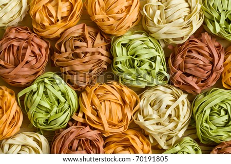 photo shot of colorful pasta tagliatelle
