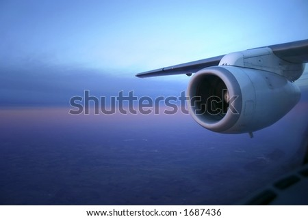 Photo showing jet engine in early morning light